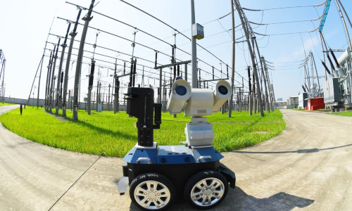 A robot inspecting the equipment at an electrical substation